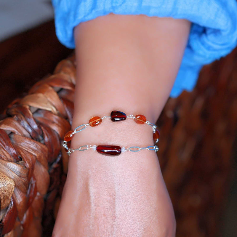 Sophia - Organic Mozambique Garnet Sterling Silver Chain Bracelet life style stacked image | Breathe Autumn Rain Artisan Jewelry