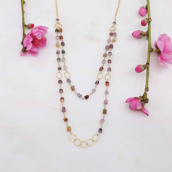 Spring Fling - Double Layered Gemstone Gold Necklace - alt image | Breathe Autumn Rain