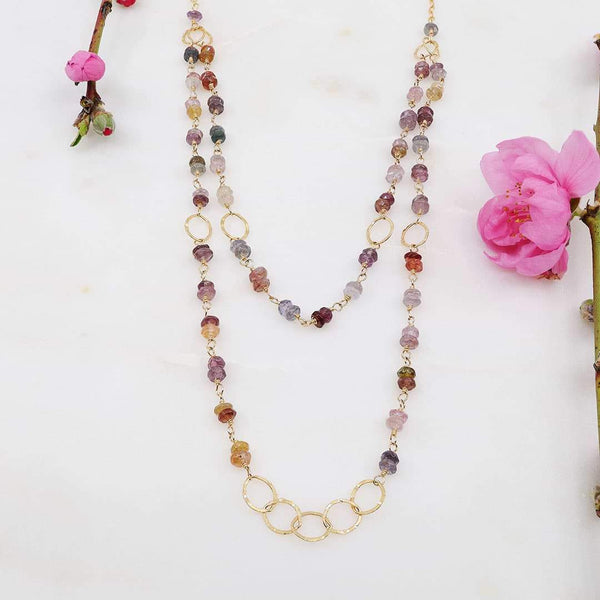 Spring Fling - Double Layered Gemstone Gold Necklace - main image | Breathe Autumn Rain