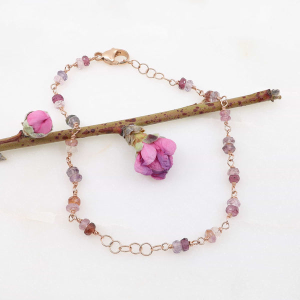 Spring Fling - Pink Spinel Rose Gold Bracelet main image | Breathe Autumn Rain Artisan Jewelry