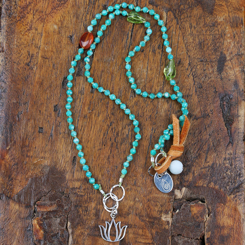 Spring Time - Lotus and Amazonites Necklace