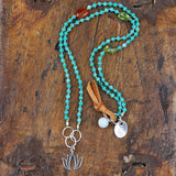 Spring Time - Lotus and Amazonites Necklace - BreatheAutumnRain