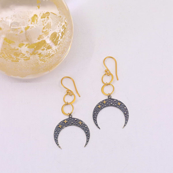 Starry Skies - Crescent Moon Earrings main image | Breathe Autumn Rain Artisan Jewelry