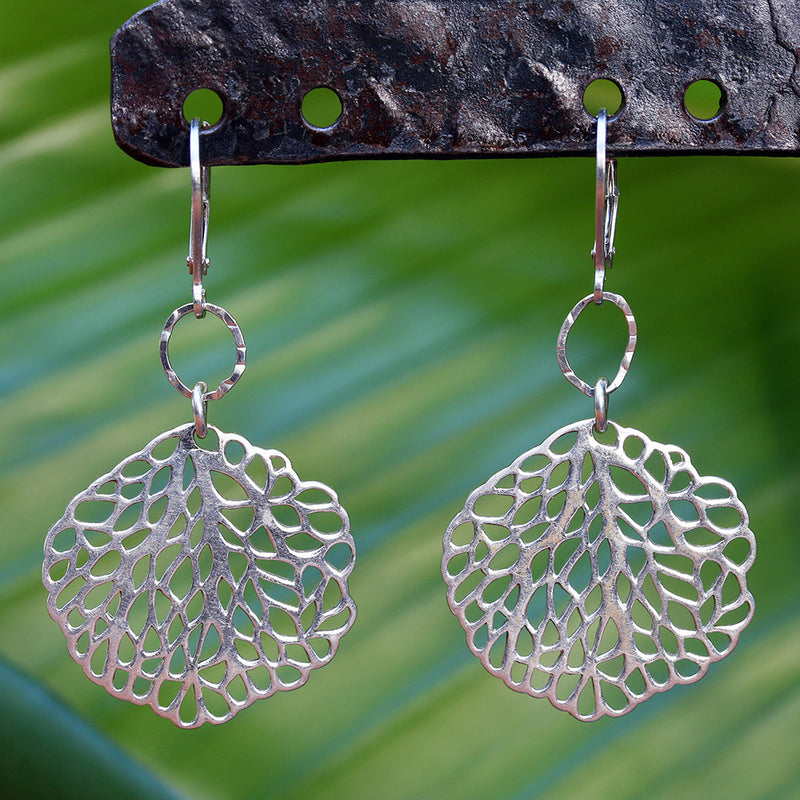 Stinson Beach - Large Sea Fan Sterling Silver Earrings - BreatheAutumnRain