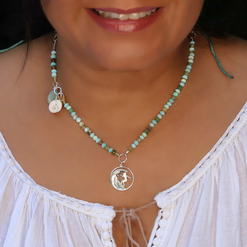 The Wedge - Peruvian Opal Surfer Charm Necklace life style image | Breathe Autumn Rain Artisan Jewelry