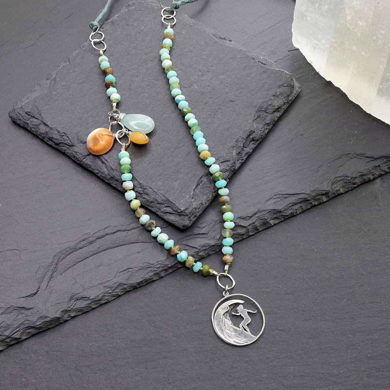 The Wedge - Peruvian Opal Surfer Charm Necklace alt image | Breathe Autumn Rain Artisan Jewelry