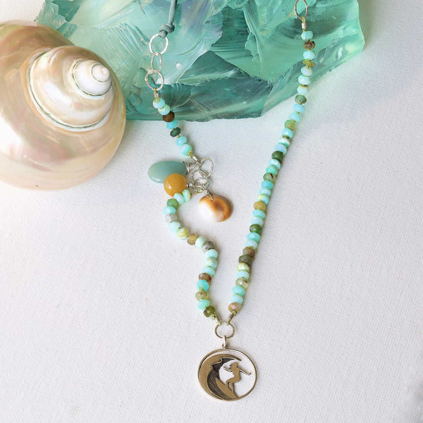 The Wedge - Peruvian Opal Surfer Charm Necklace main image | Breathe Autumn Rain Artisan Jewelry