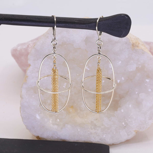 The Weekend - Mixed Metal Tassel Earrings main image | Breathe Autumn Rain Artisan Jewelry