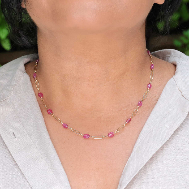 Think Pink - Pink Sapphire Gold Necklace life style image | Breathe Autumn Rain Artisan Jewelry