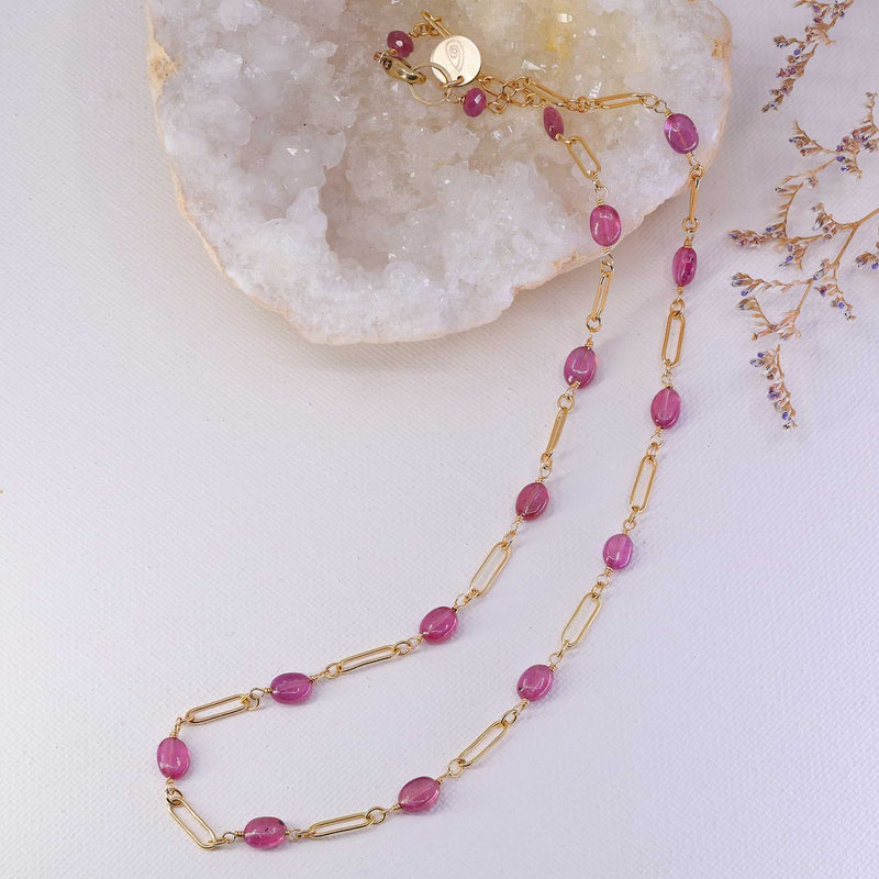 Think Pink - Pink Sapphire Gold Necklace alt image | Breathe Autumn Rain Artisan Jewelry