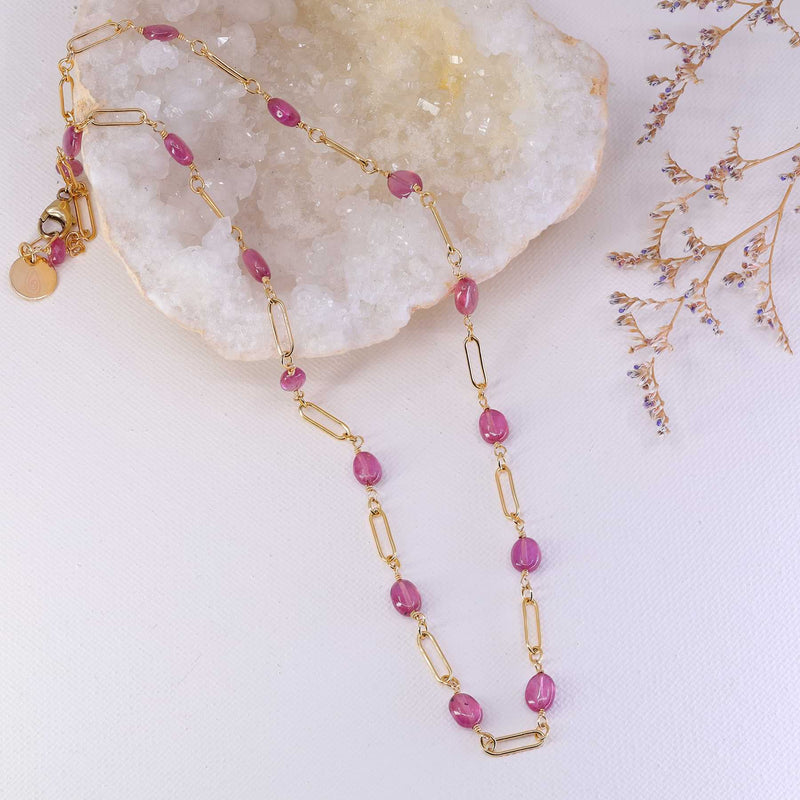 Think Pink - Pink Sapphire Gold Necklace main image | Breathe Autumn Rain Artisan Jewelry