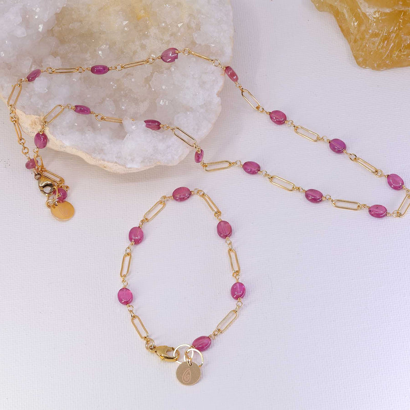 Think Pink - Pink Sapphire Gold Necklace and Bracelet set image | Breathe Autumn Rain Artisan Jewelry