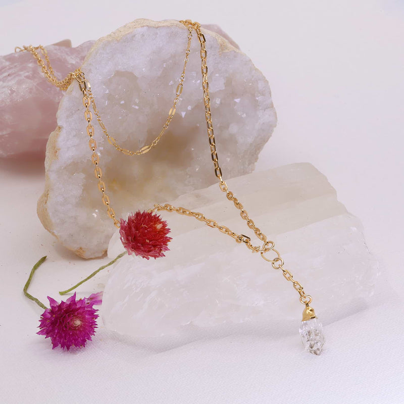 Toulouse - Layered Gold Herkimer Diamond Necklace main image | Breathe Autumn Rain Artisan Jewelry