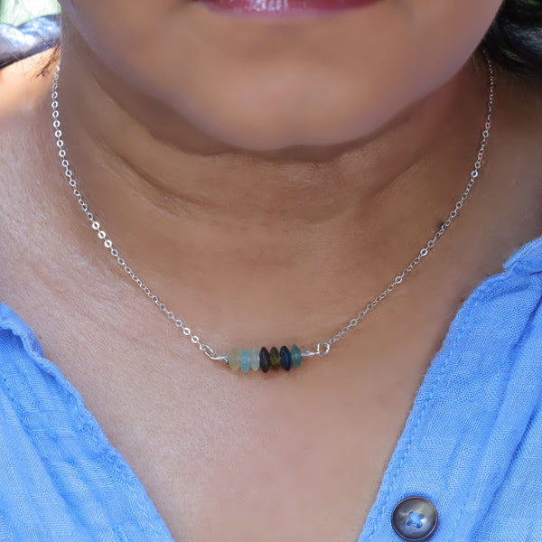 Treasure Hunt - Roman Glass Bar Necklace life style image | Breathe Autumn Rain Artisan Jewelry