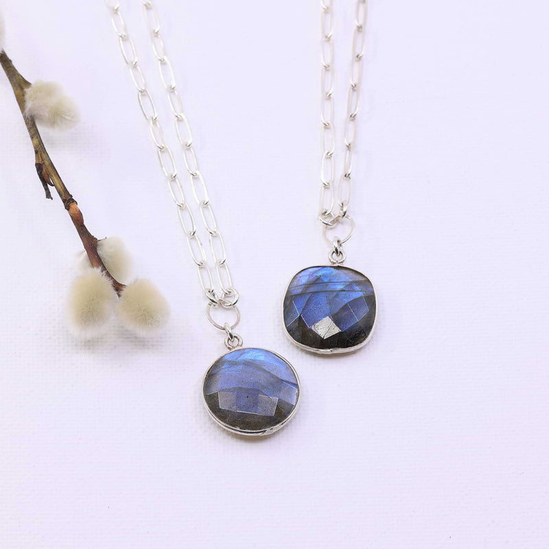 Twilight - Blue Labradorite Pendant Sterling Silver Necklace alt image | Breathe Autumn Rain Artisan Jewelry