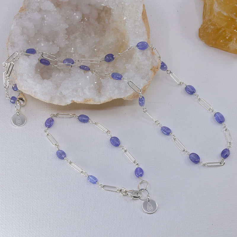 Valensole - Tanzanite Sterling Silver Chain Bracelet and Necklace set image | Breathe Autumn Rain Artisan Jewelry