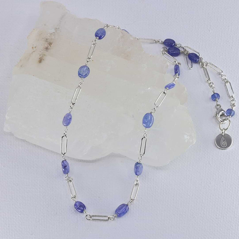 Valensole - Tanzanite Sterling Silver Chain Necklace alt image | Breathe Autumn Rain Artisan Jewelry