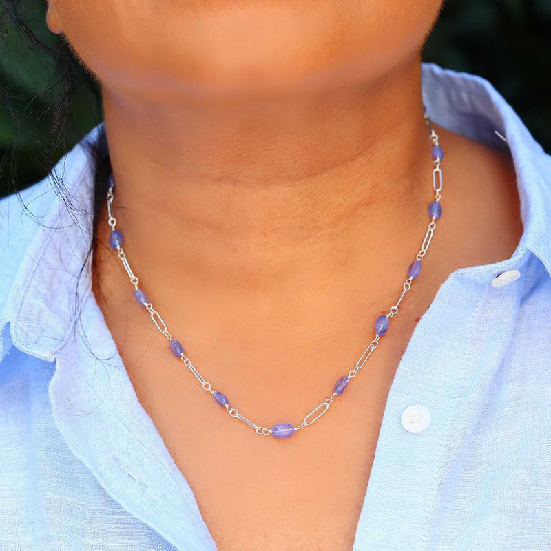 Valensole - Tanzanite Sterling Silver Chain Necklace life style image | Breathe Autumn Rain Artisan Jewelry