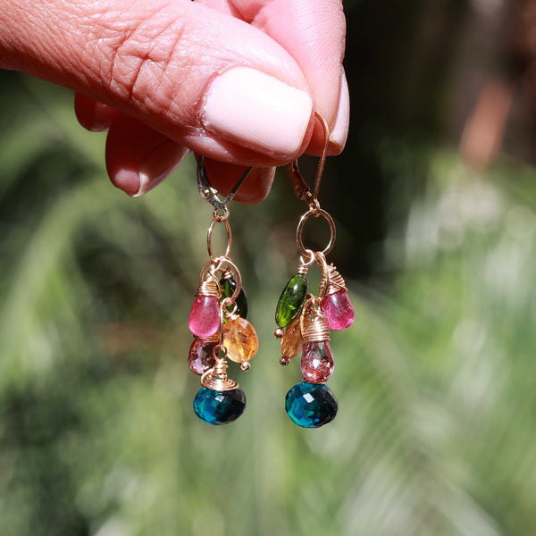 Venezia - Multi-Gemstone Cluster Earrings life style image | Breathe Autumn Rain Artisan Jewelry