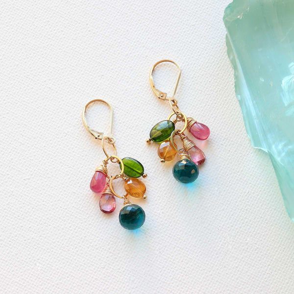 Venezia - Multi-Gemstone Cluster Earrings main image | Breathe Autumn Rain Artisan Jewelry
