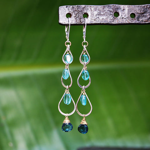 Wailua Falls - London Blue Topaz Apatite Sterling Silver Drop Earrings