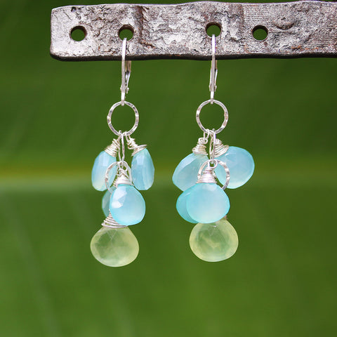 Water Puddles - Chalcedony and Prehnite Cluster Earrings