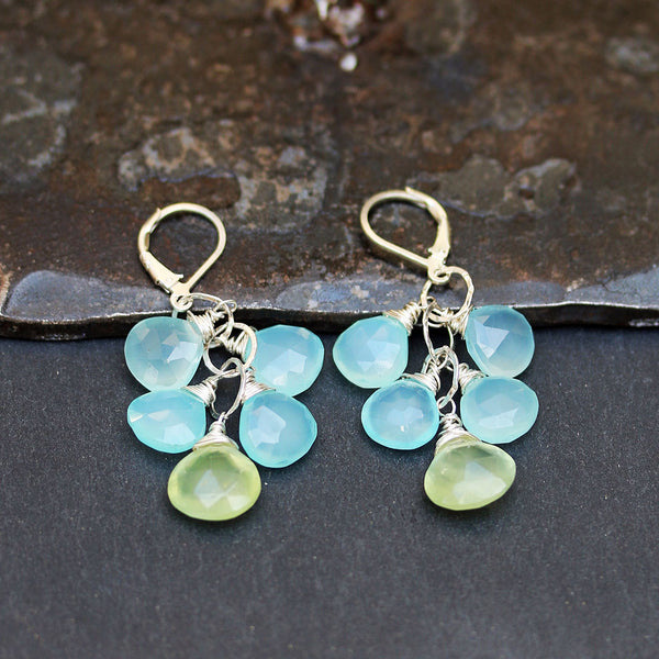 Water Puddles - Chalcedony and Prehnite Cluster Earrings Image | BreatheAutumnRain