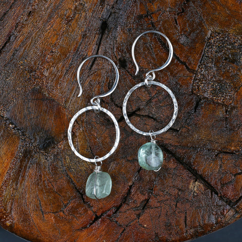Waterdrops - Natural Aquamarine Sterling Silver Earrings