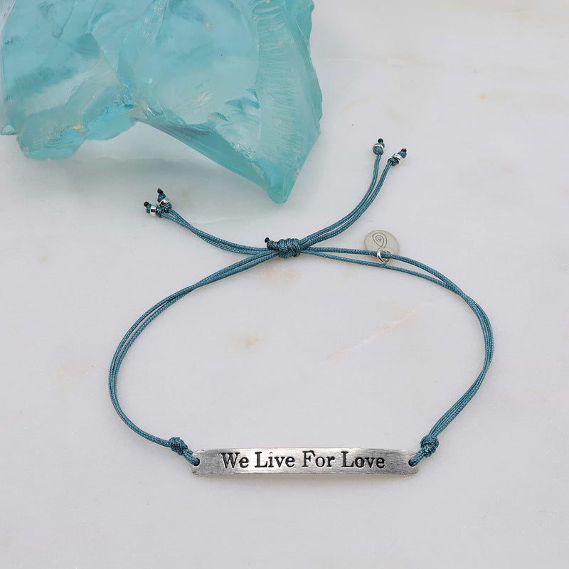 We Live for Love - Silver Charm Cord Bracelet alt2 image | Breathe Autumn Rain Artisan Jewelry