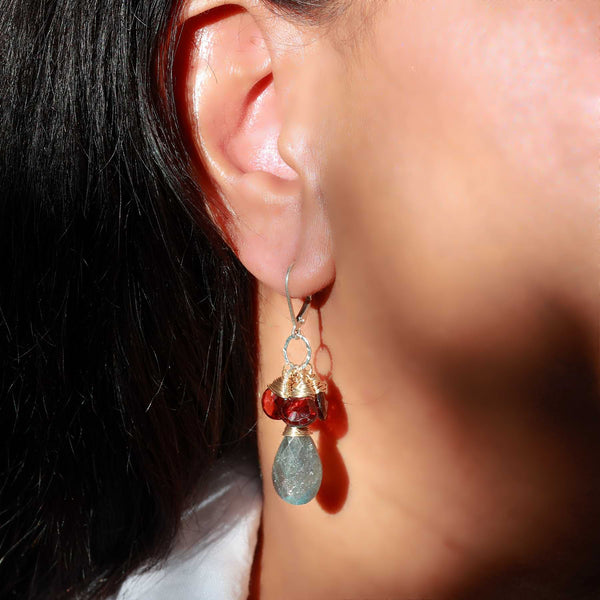 Winter Glow - Mozambique Garnet and Labradorite Drop Earrings life style alt image | Breathe Autumn Rain Artisan Jewelry