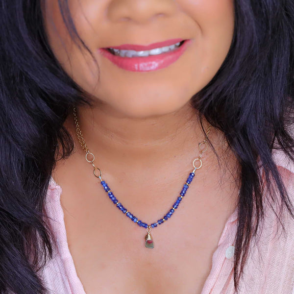 Winter's Darkness - Tourmaline and Blue Kyanite Gold Necklace life style image | Breathe Autumn Rain Artisan Jewelry