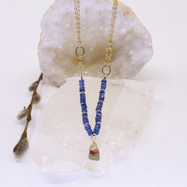 Winter's Darkness - Tourmaline and Blue Kyanite Gold Necklace main image | Breathe Autumn Rain Artisan Jewelry