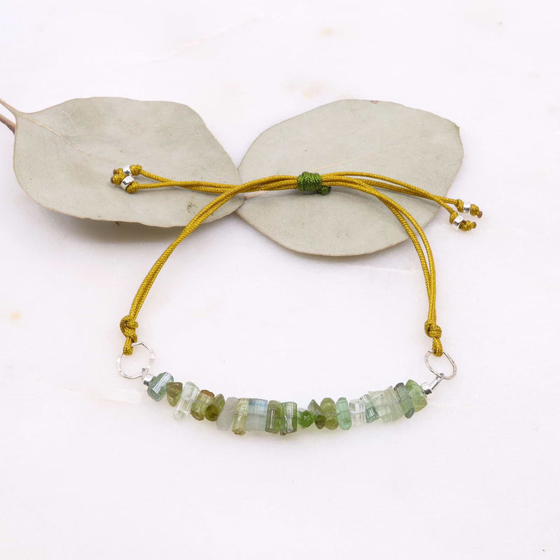 Yosemite - Rare Green Tourmaline Cord Bracelet main image | Breathe Autumn Rain Artisan Jewelry