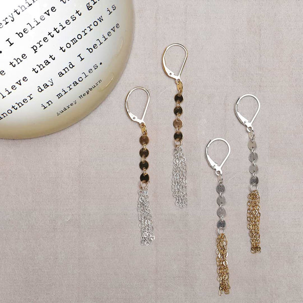 Zelda - Mixed Metal Chain Tassel Earrings