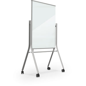 Visionary Curve Mobile Magnetic Glass Whiteboard - Collaboration Boards - 1
