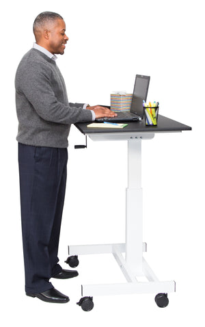 40″ Single Column Crank Stand Up Desk by Luxor