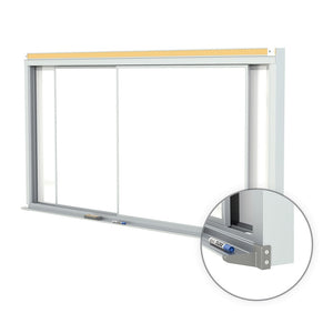 Ghent Duo Track Centurion Horizontal Porcelain Sliding Whiteboard by Ghent