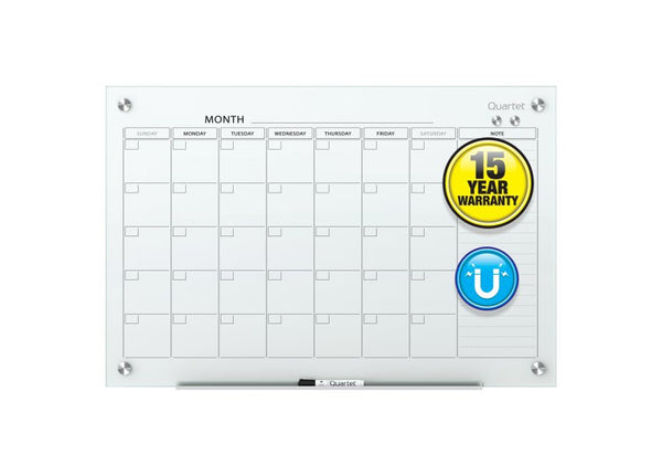 Infinity Magnetic Glass Dry Erase Board Calendar Whiteboard White
