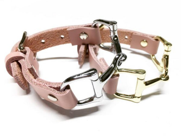 Soft Pink Leather Horse Bit Bracelet - C1