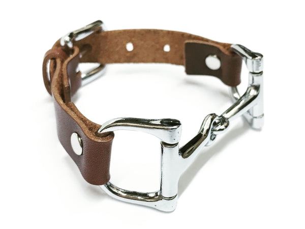 Handcrafted Leather Horse Snaffle Bit Bracelet B1552 | Ideana