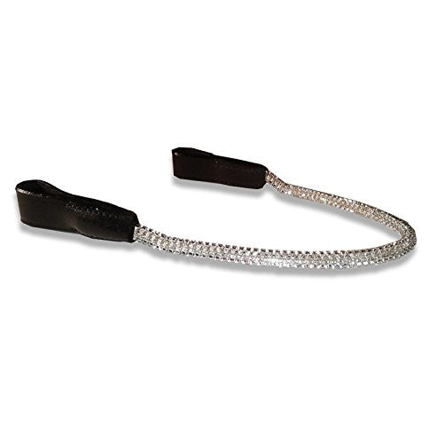 Rolled Silver Diamante Chain Browbands For Horses - Sparkly Bling (Brown Leather, Warmblood/Draft) D2377 | Ideana