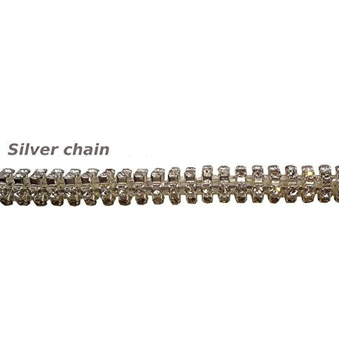 Rolled Silver Diamante Chain Browbands For Horses - Sparkly Bling (Brown Leather, Warmblood/Draft)    | Ideana