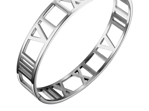 Silver Wide Cuff Bracelet with Roman Numeral | Ideana