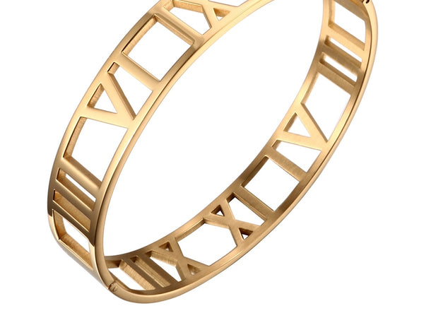 Yellow Gold Wide Cuff Bracelet with Roman Numeral | Ideana