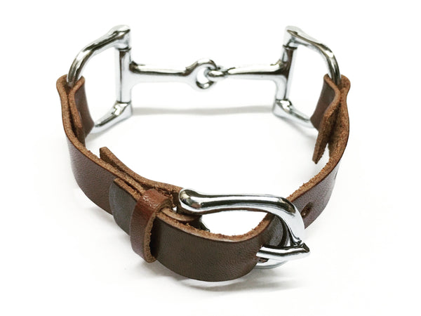 Handcrafted Leather Horse Snaffle Bit Bracelet D1554 | Ideana