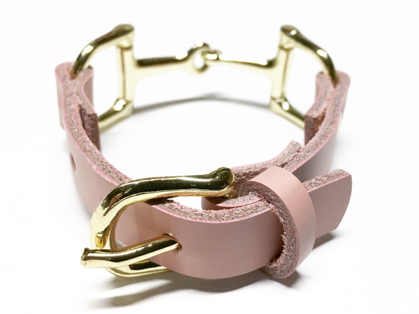 Leather Horse Bit Bracelet Soft Pink S3087 | Ideana