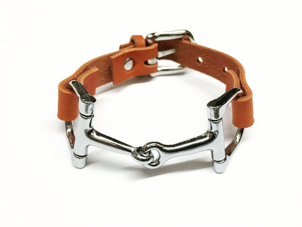 Handmade Genuine Leather Horse Snaffle Bit Bracelet - C1