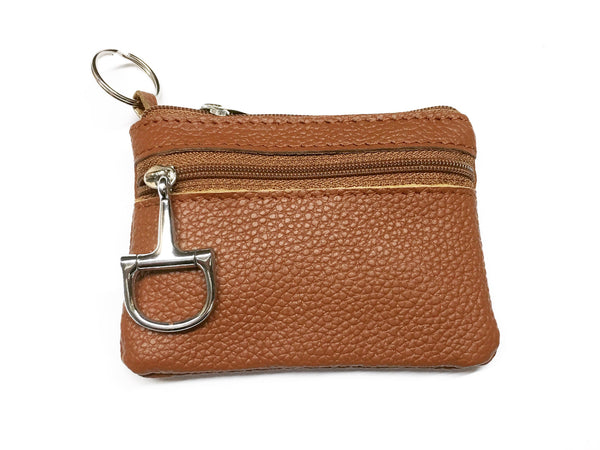Light Brown Leather Coin Purse and Key Chain | Ideana