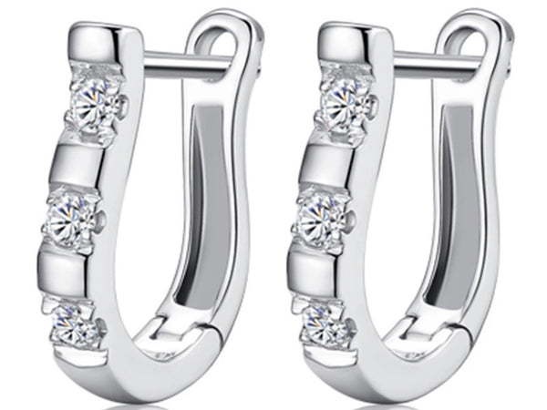 Elegant 925 Sterling Sliver Horseshoe Earrings - Rhinestone Horseshoe Earrings - Horseshoe Jewelry - RN103