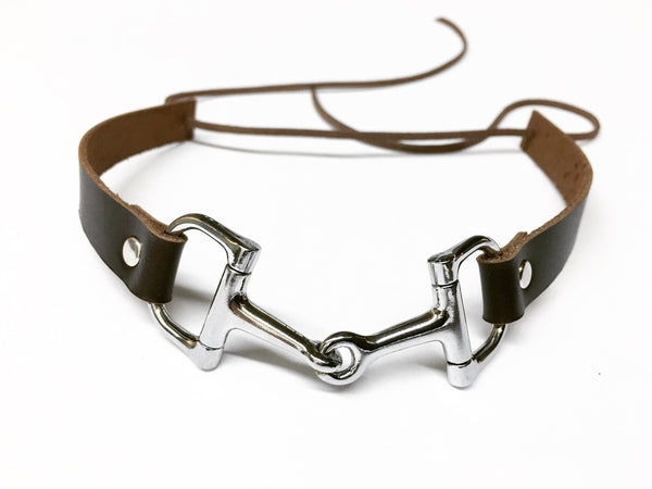 Modern Equestrian Leather and Snaffle Choker Necklace - C1